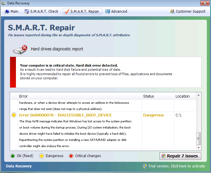 S M A R T  Repair (Fake Alert Virus) | LAN-Tech Network Management